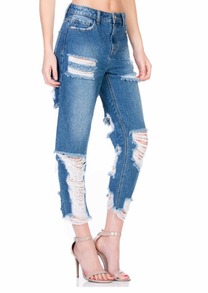 High Rise Distressed BF Jeans  - Kris Janel