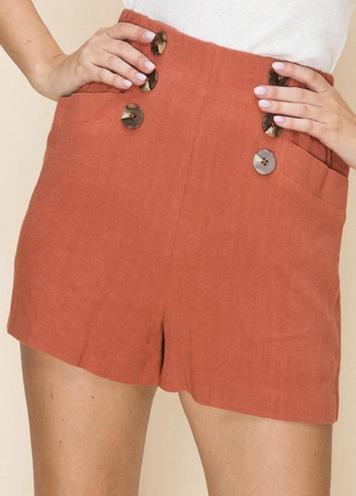 Ahoy Button Shorts - Rust  - Kris Janel