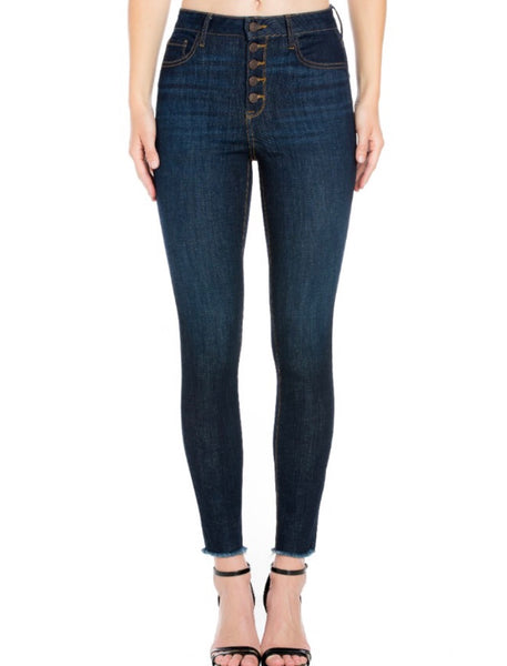High Waist Button Up Jeans  - Kris Janel