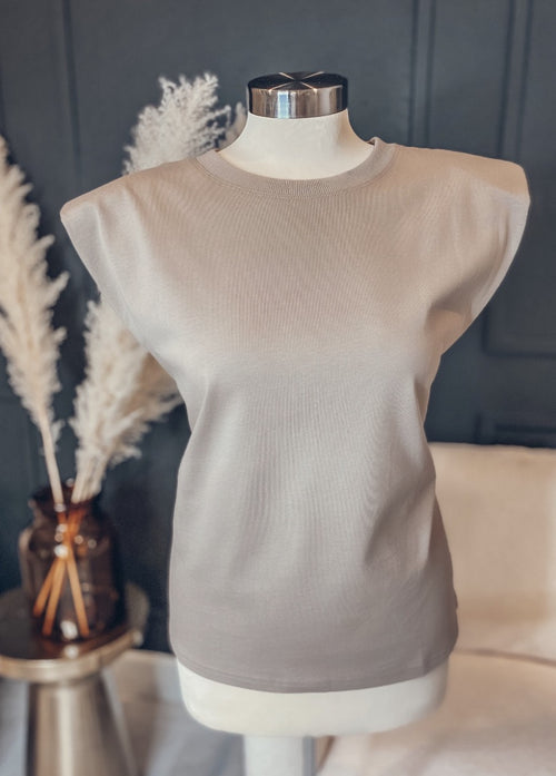 Kamala Shoulder Pad Top - Taupe