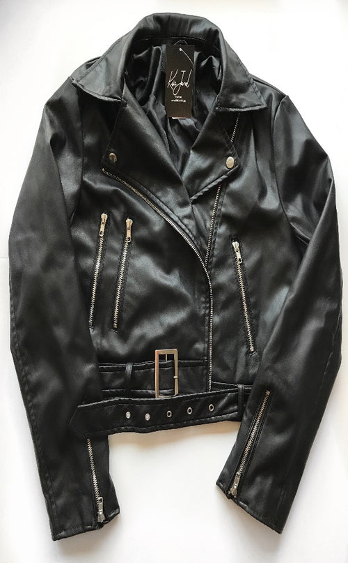 Faux Leather Belt Jacket  - Kris Janel