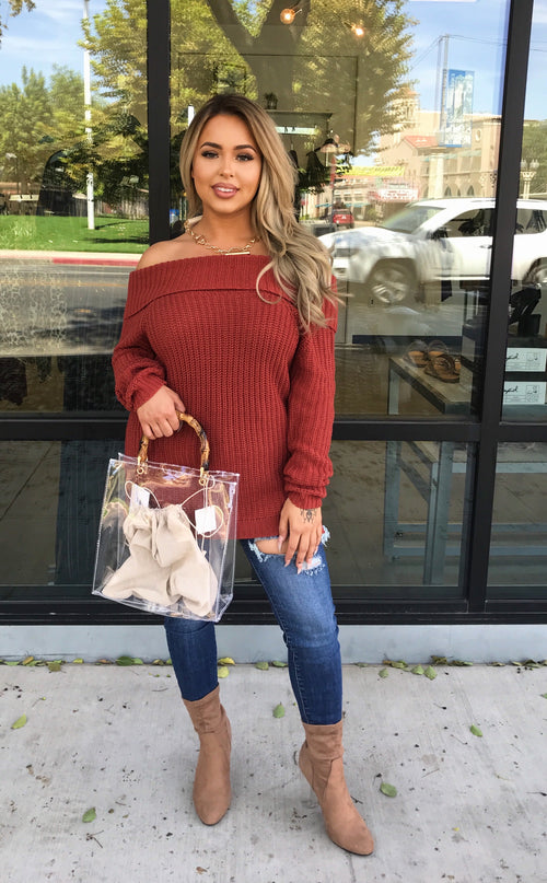 Knitted Off Shoulder Sweater  - Kris Janel