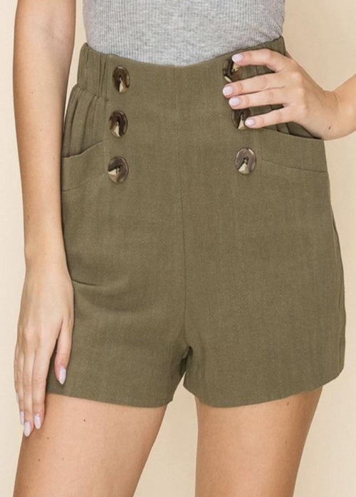 Ahoy Button Shorts - Olive  - Kris Janel