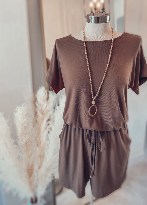 Ready or Not Romper - Mocha