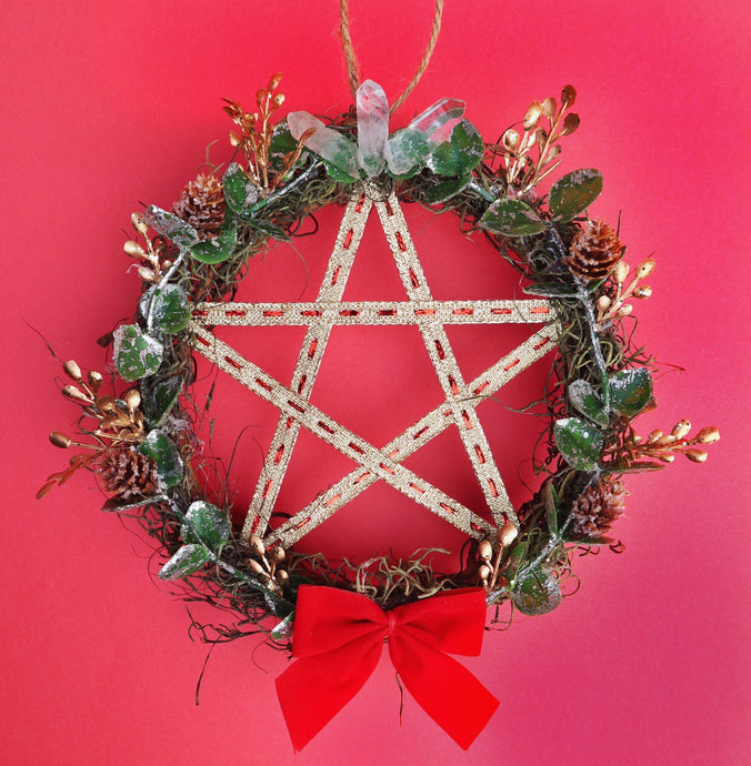 QUARTZ CROWNED PENTACLE WREATH + ORNAMEMTS