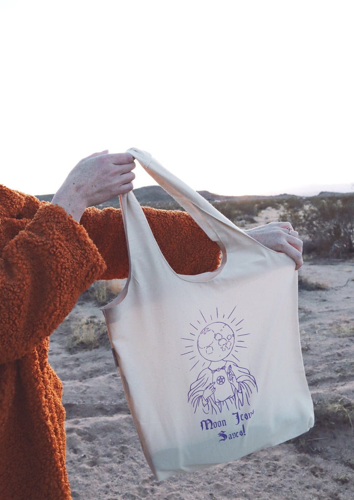 MOON JESUS SAVES TOTE