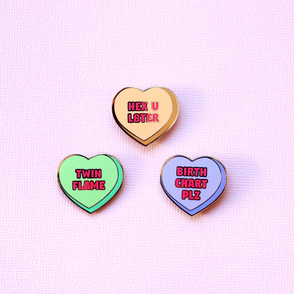 WITCHY CANDY HEART PIN SET