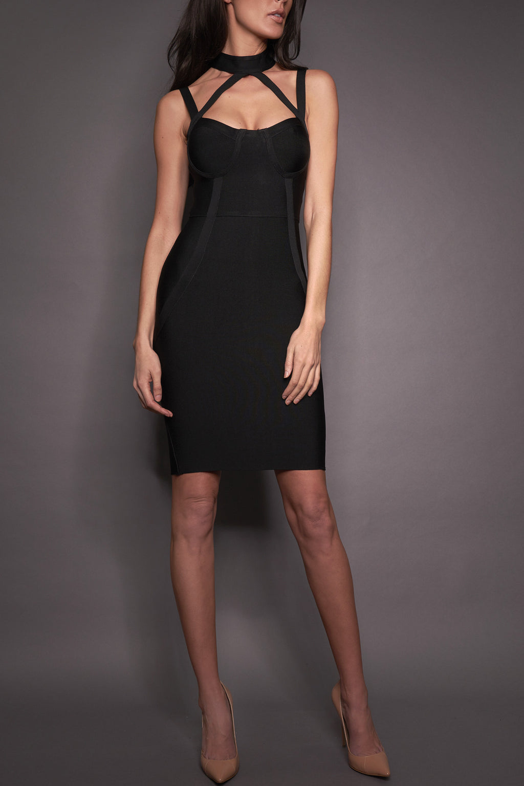 Stelli Black Cut Out Bandage Dress