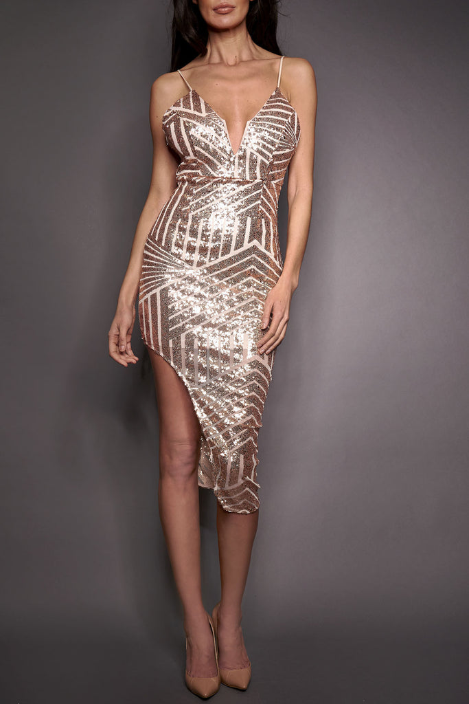 Rose Asymmetric Sequin Dress