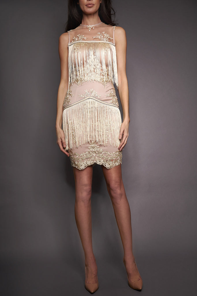 Lilia Fringe Mesh Dress
