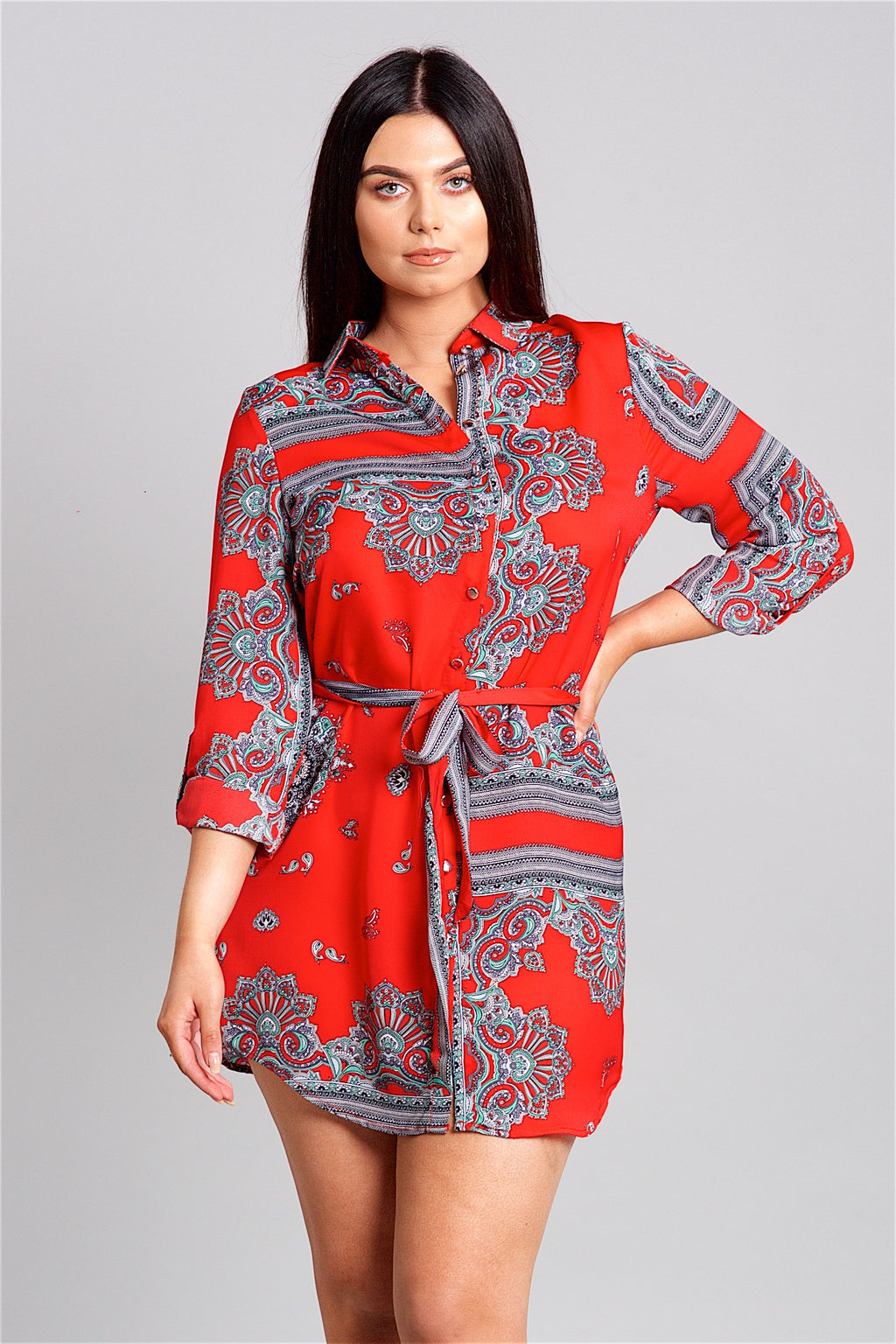 Red Print Shirt Dress