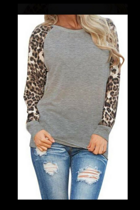Grey Leopard Print Sleeve Top