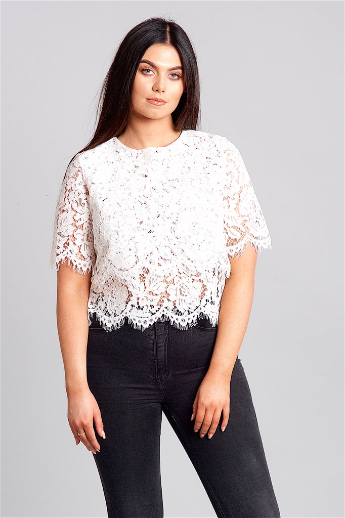 White Layered Lace Top