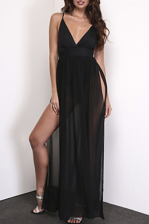 Anaica Black Mesh Double Split Bodysuit Maxi