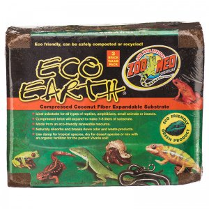 3 pack Zoo Med Eco Earth Compressed Coconut Fiber Substrate (3 bricks in one package)