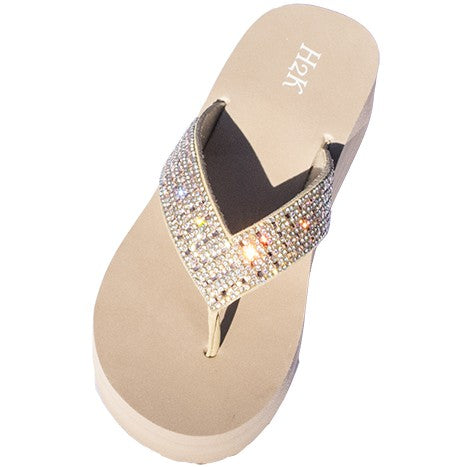 "Comfy cushioned footbed 1.5"" wedge heel Sparkling AB stones accent on straps"