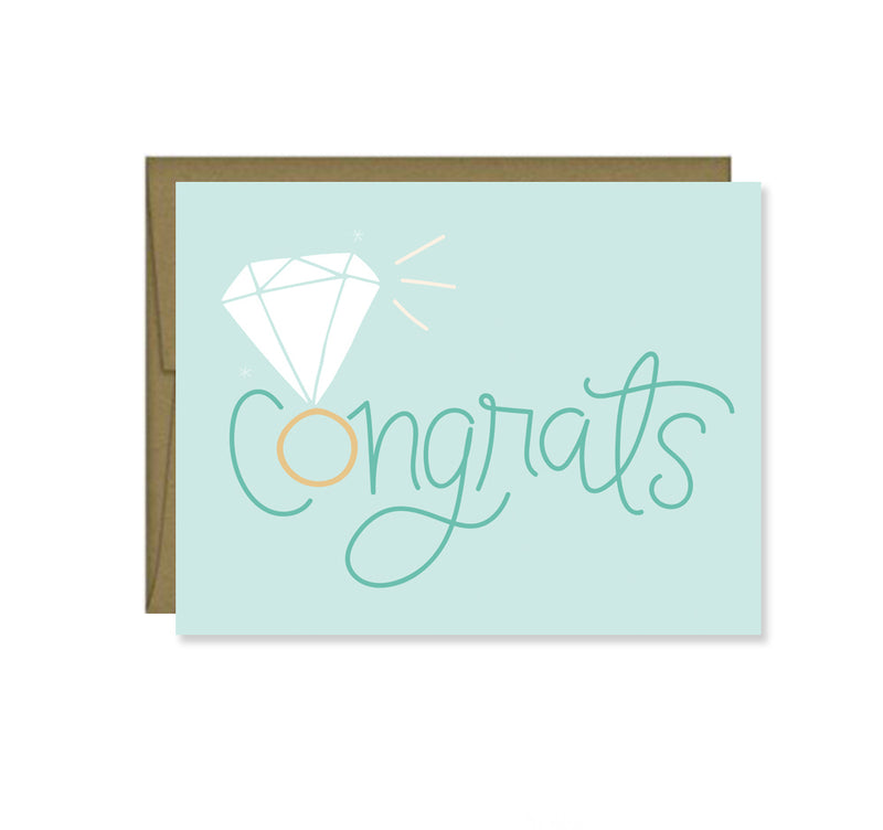 Pen & Paint - Congrats Engagement Card, Wedding Bridal shower, ring