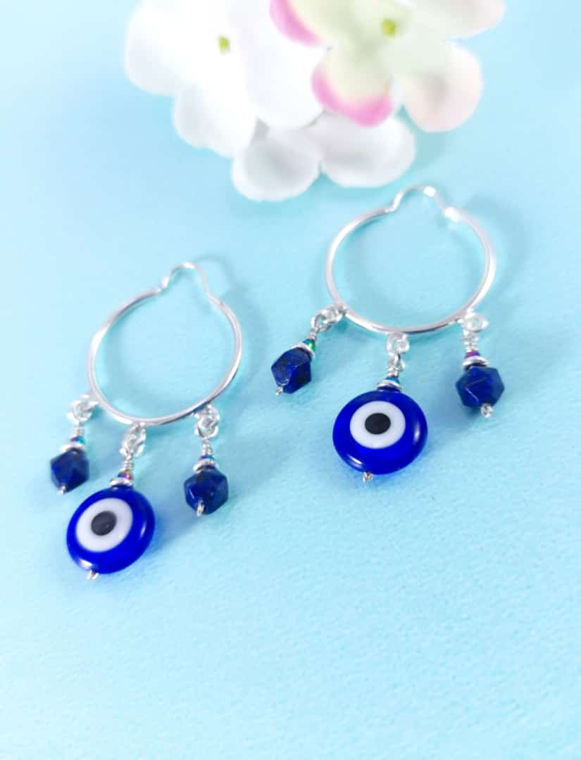 Silver 925 Blue Stone Dangle Earrings