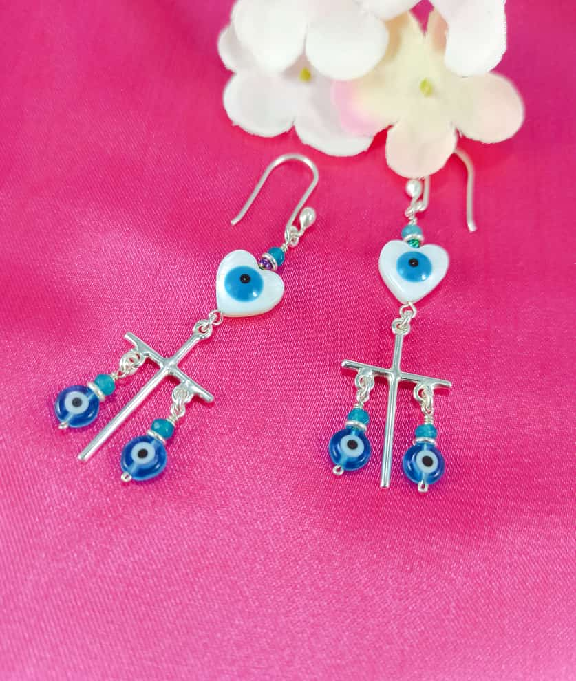 Silver 925 Ojo Dangling Earrings
