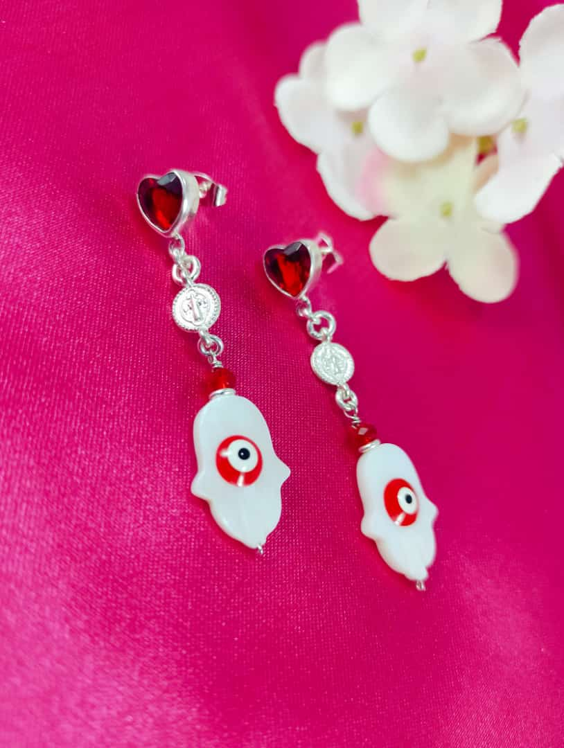 Silver 925 Hamsa Dangle Earrings with Red Heart
