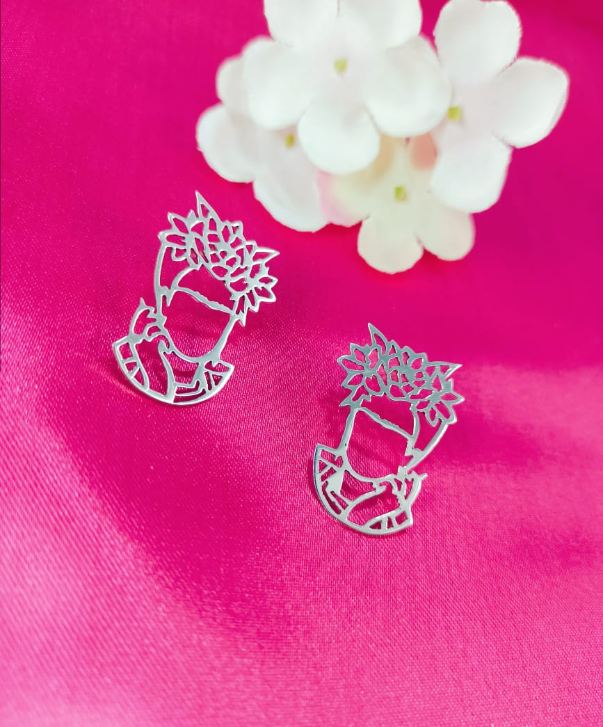 Silver 925 Frida Kahlo Post Earrings