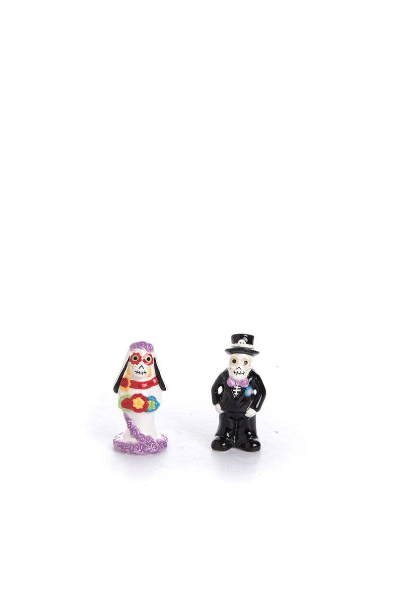 Transpac - Dolomite Day Of The Dead Bride & Groom Salt & Pepper Shakers Set Of 2