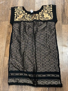 Black and Gold Oaxacan Dress