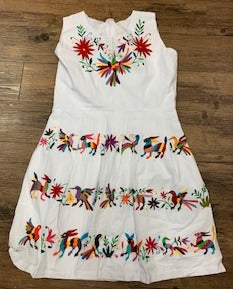 Otomi Embroidered White Dress