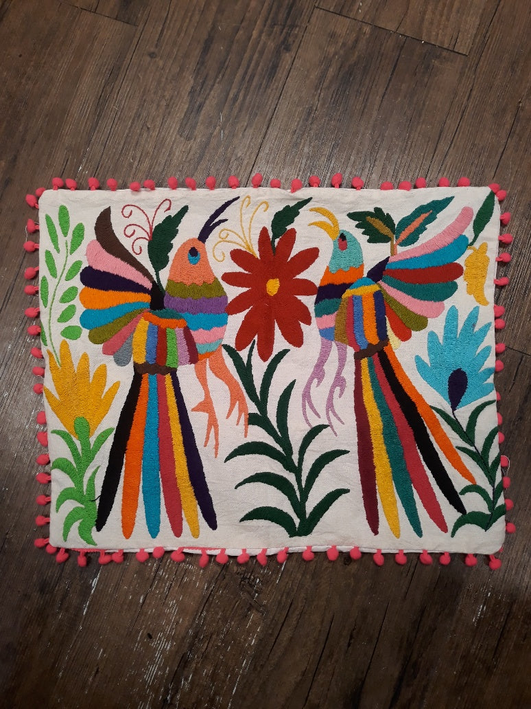 Otomi Pillow Cover with Pom Pom Trim