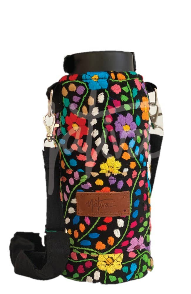 Nativa - Embroidered Water Bottle Holder with Strap - Multiple Colors