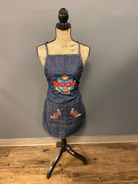 Denim Mexican Embroidered Aprons