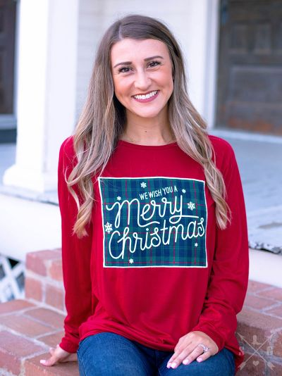 We Wish You a Merry Christmas Plaid Patch on Red Longsleeve