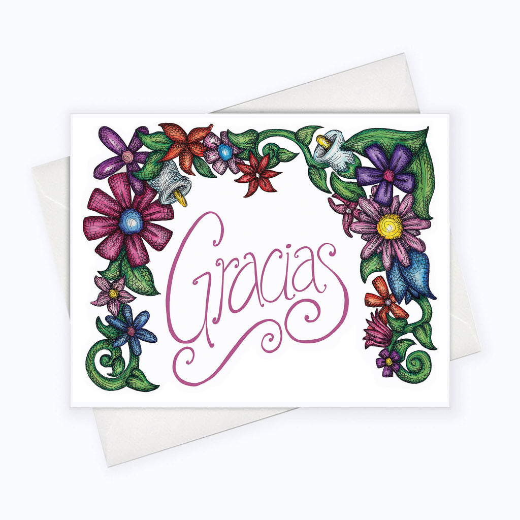 About A Cloud Stationery & Gifts - GRACIAS CARD | FLOWERS THANK YOU Spanish Card | Español