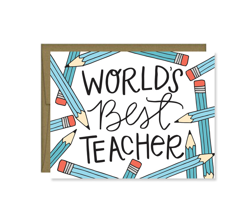 Pen & Paint - World's Best Teacher, Teacher Appreciation Card
