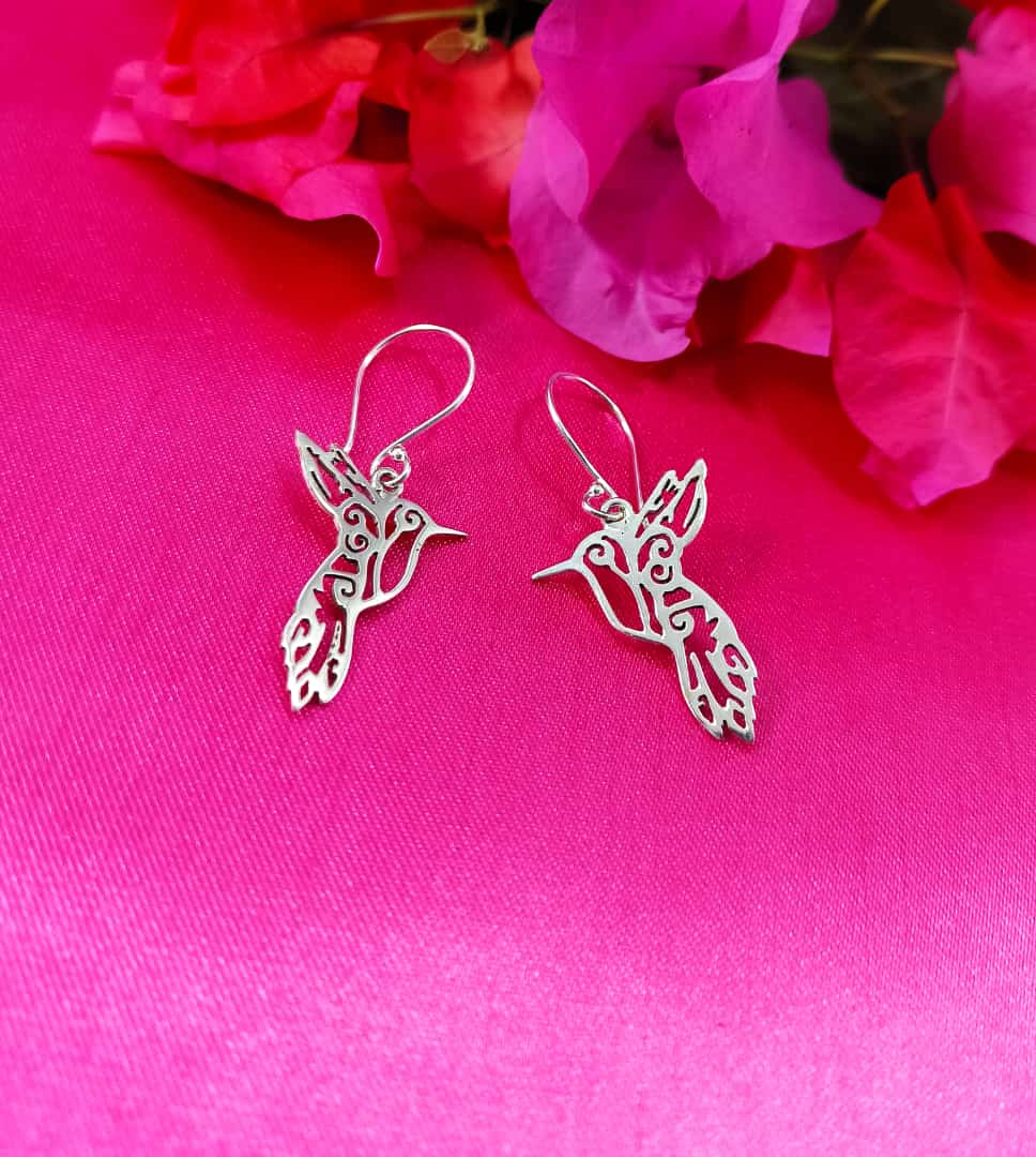 Silver 925 Colibri Dangle Earrings