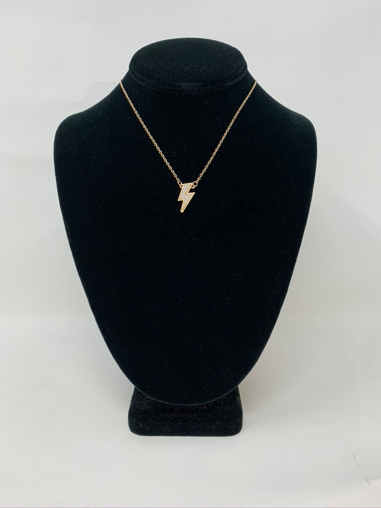 Gold Textured Lightning Bolt Necklace
