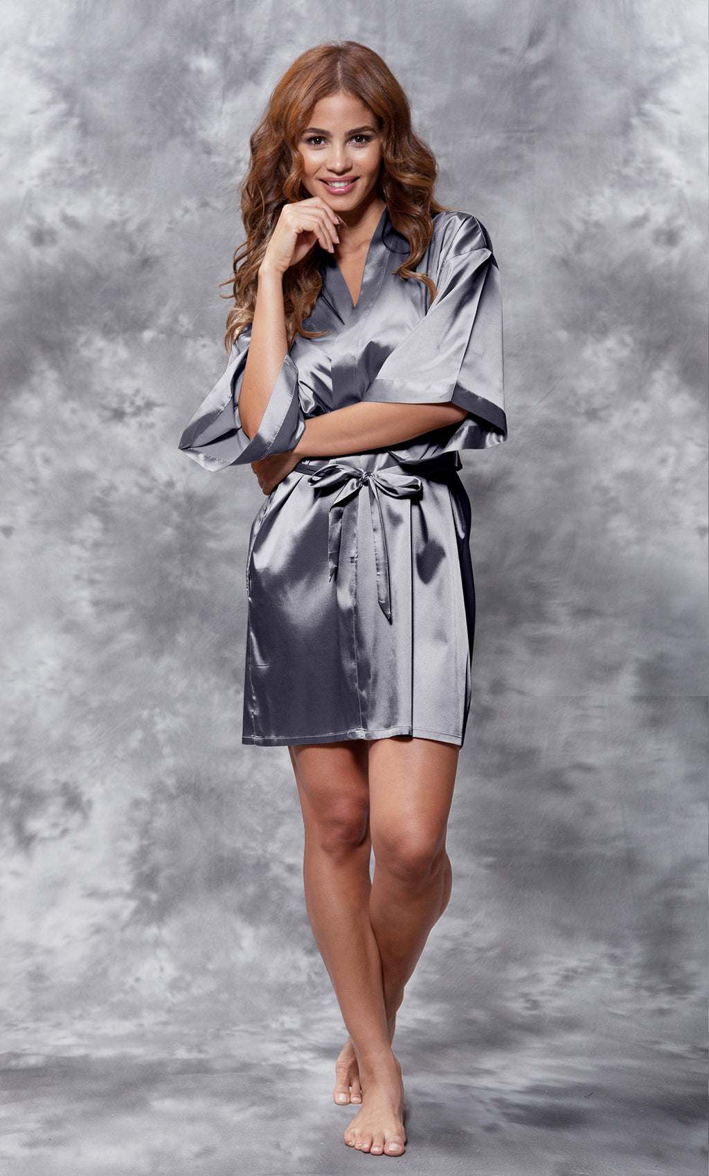 Charcoal Silky Satin Robe