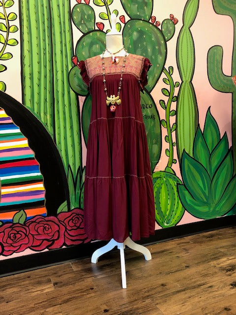 Burgundy Cotton Dress Sosa Caustica