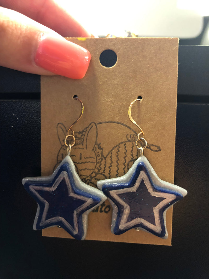 Silver and Blue Star Earrings