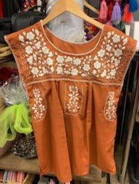 Burnt Orange Mexican Embroidered Blouse