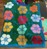 Jalapa Blouse Turquoise with colorful flowers