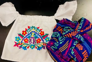 Baby Mexican Embroidered Blouse and Diaper cover for Baby Girls
