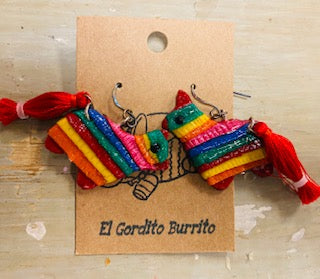 Burro or Donkey Pinata Earrings by El Gordito Burrito