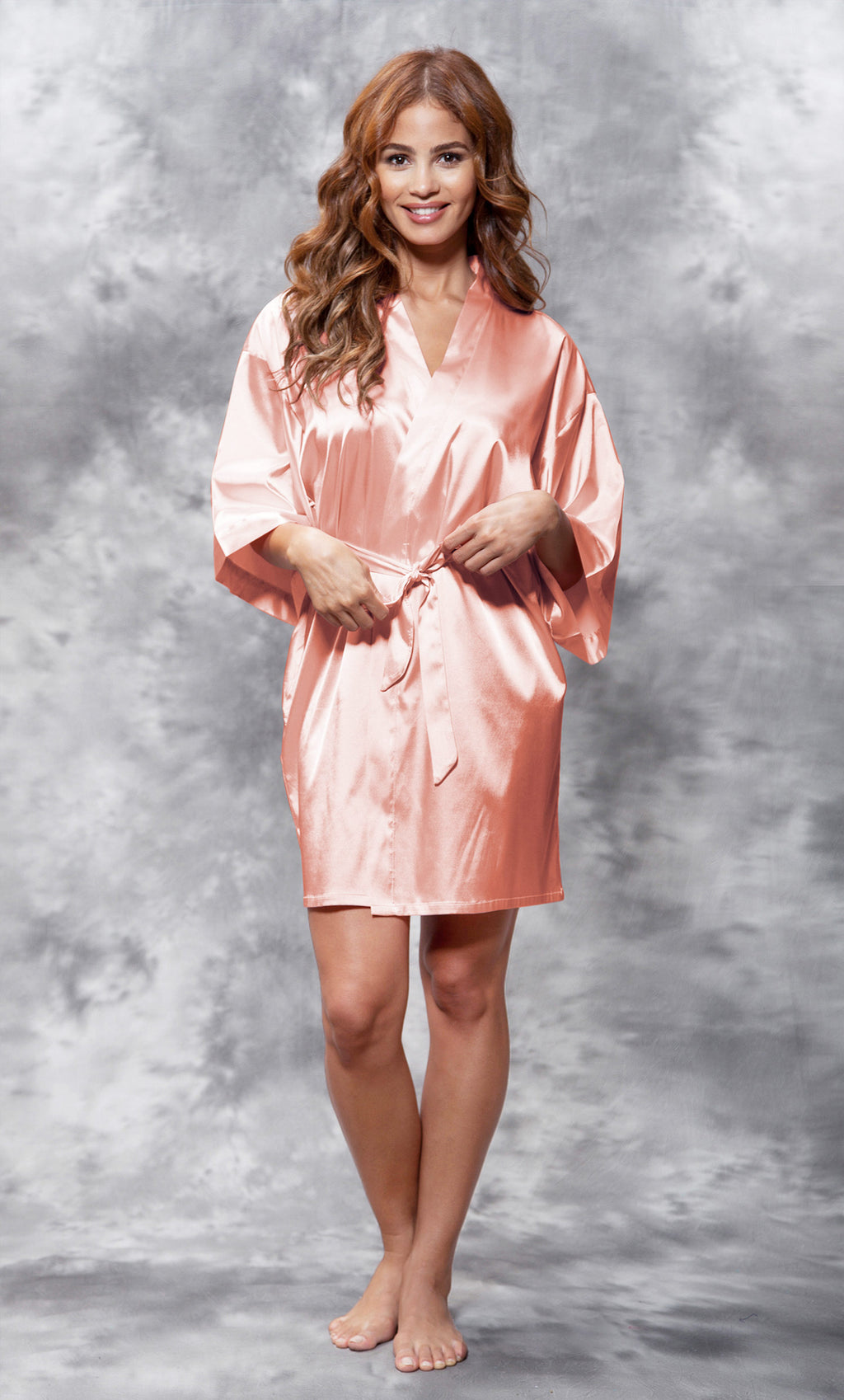 Peach Silky Satin Robe