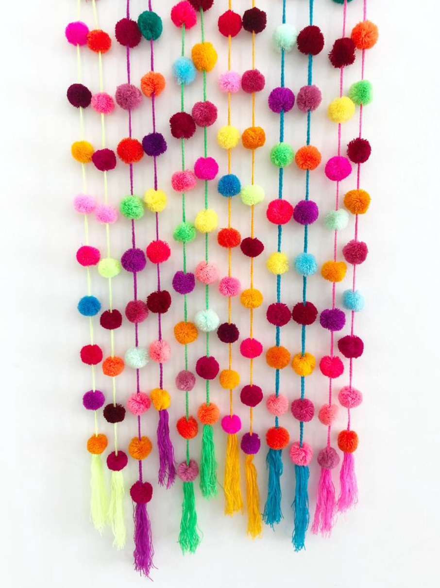 Pom Pom Garland Assorted Colors (Pack of 3)