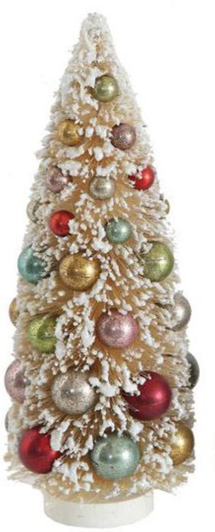 FROSTED CREAM BOTTLE BRUSH TREE WITH COLORFUL BALLS