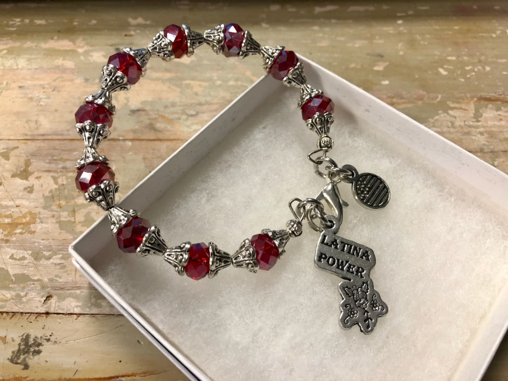 "Red Crystal and silver ""Latina Power"" Bracelet"