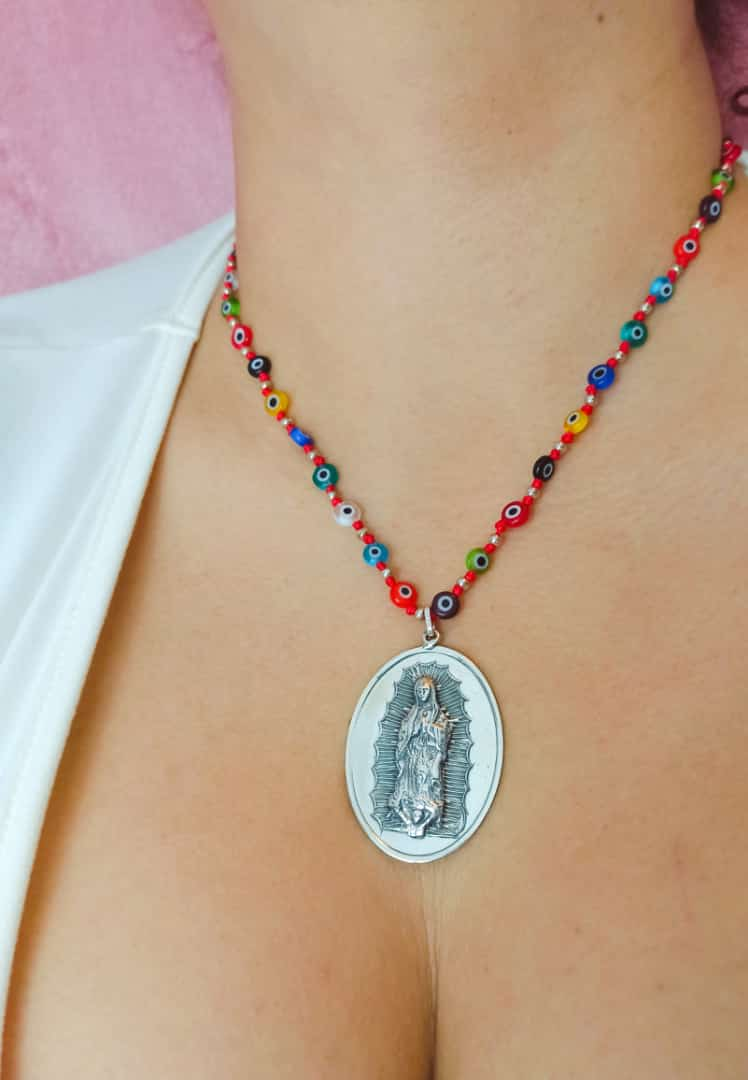 Silver 925 Our Lady of Guadalupe Necklace with Beads
