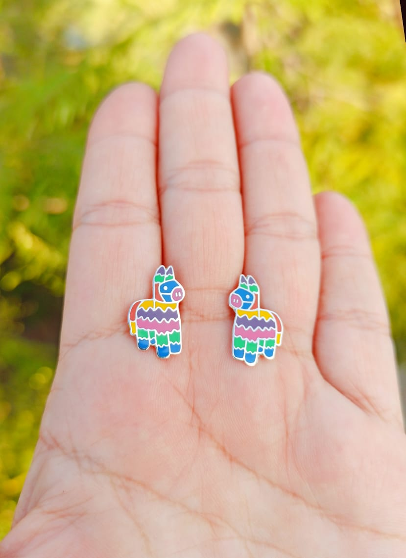 Silver 925 Pinata Color Enamel Post Earrings