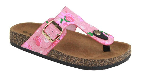 Pink and Green Thong Sandal